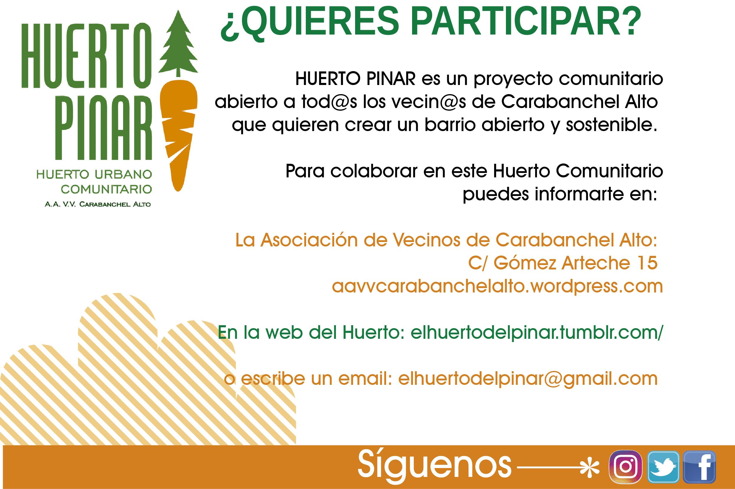Participa en el proyecto Huerto Pinar